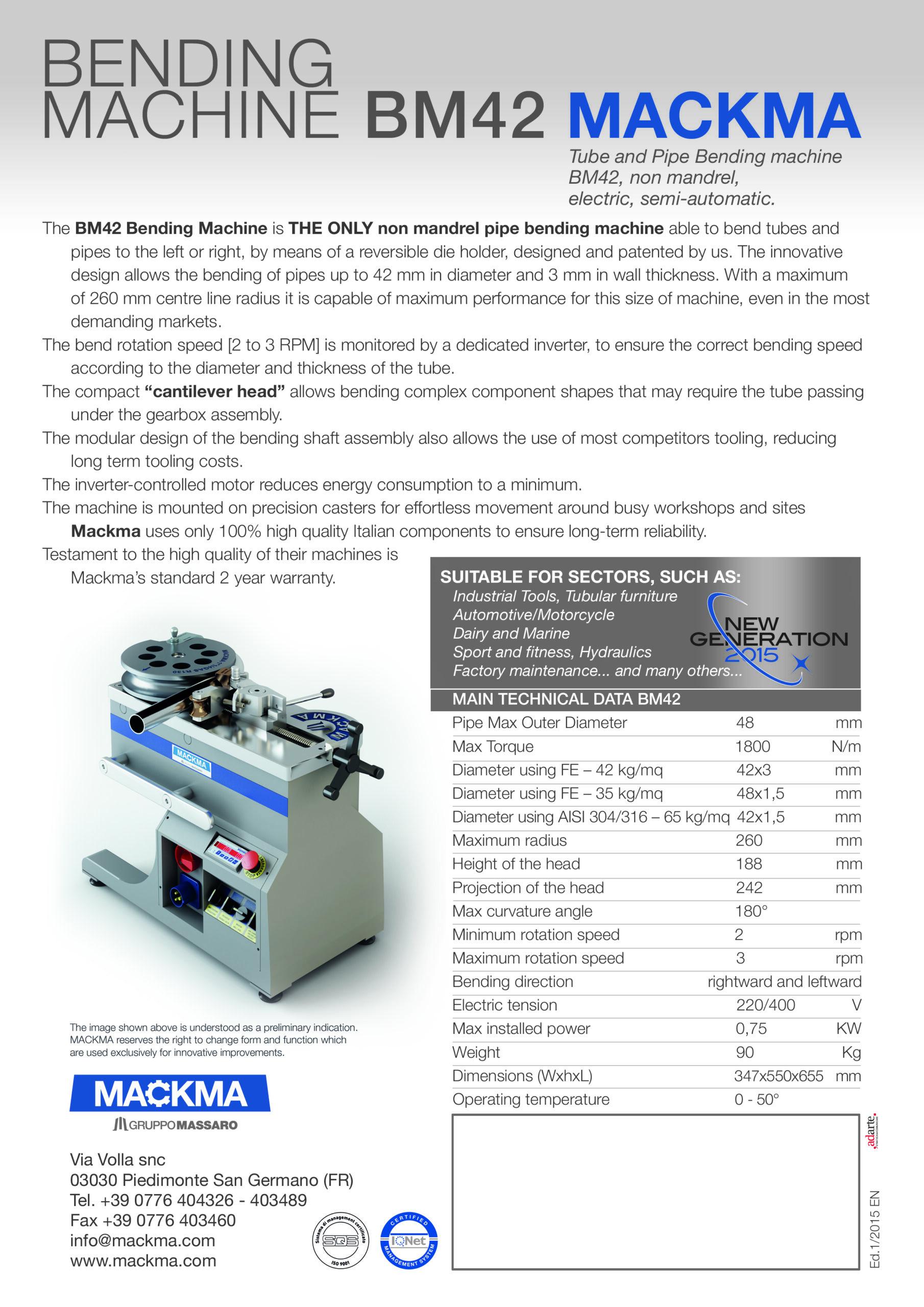 MACKMA - BM42 Non Mandrel Tube & Pipe Bender