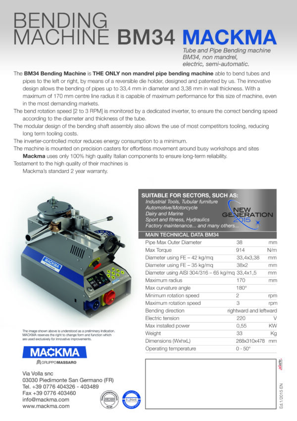 MACKMA - BM34 - Non Mandrel Tube & Pipe Bender