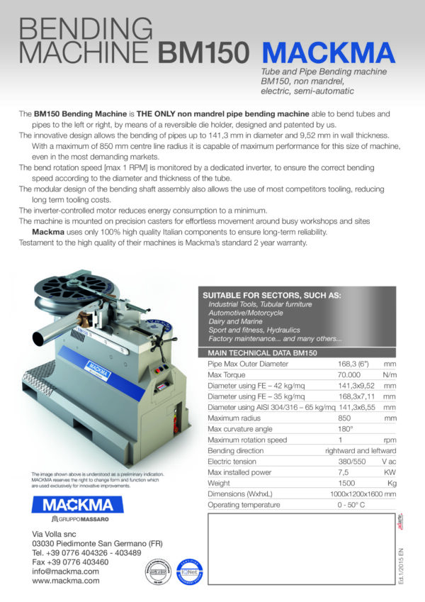 MACKMA - BM150 - Non Mandrel Tube & Pipe Bender