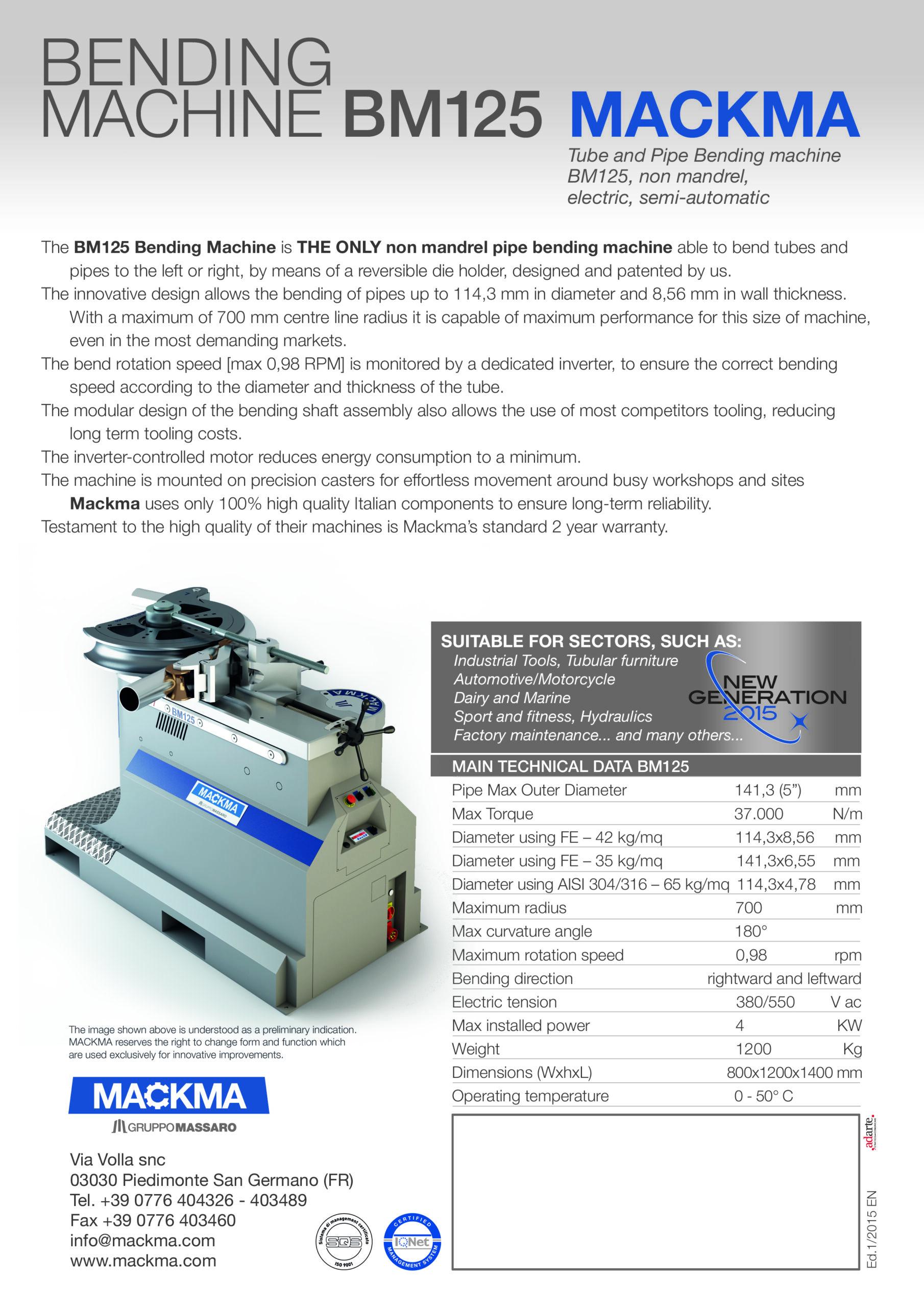 MACKMA - BM125 - Non Mandrel Tube & Pipe Bender