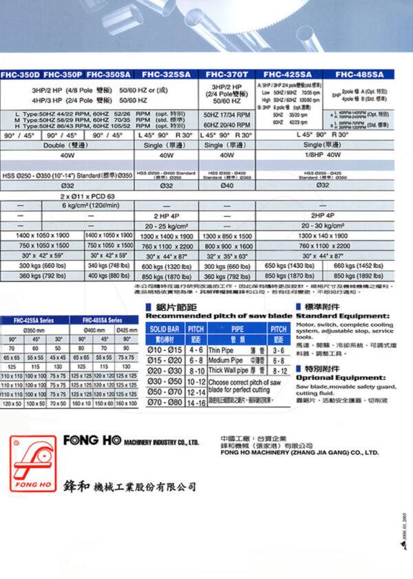 FONG HO - FHC-275 Series - Circular Cold Saw