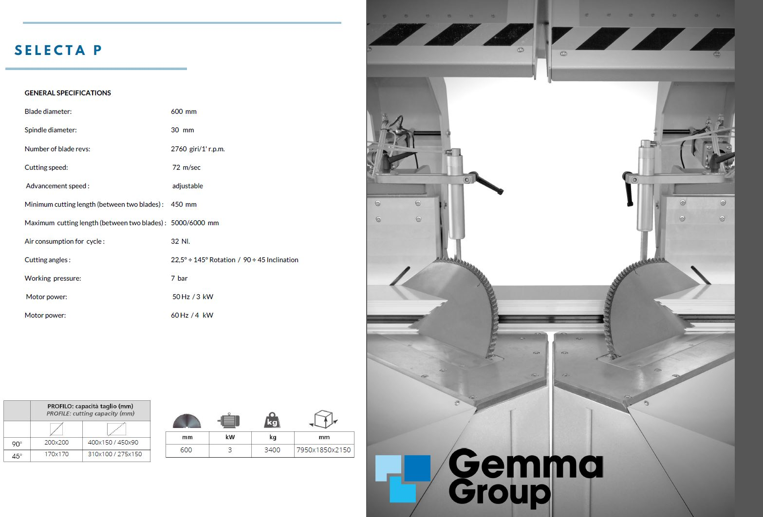 GEMMA - Double Head Sawing Machines
