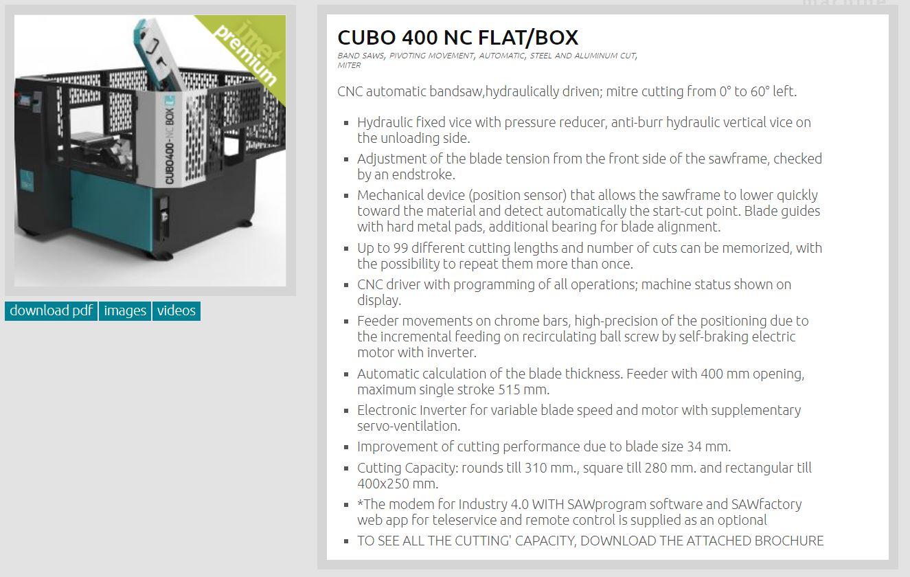 IMET - CUBO 400 NC FLAT Bandsaw