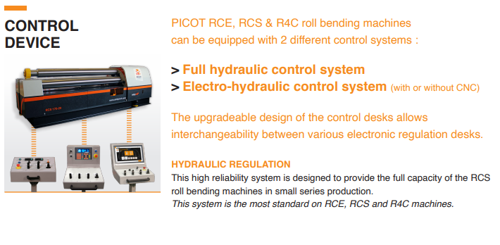 PICOT - Type RAE - Electromechanical asymmetric rollers 3 rollers