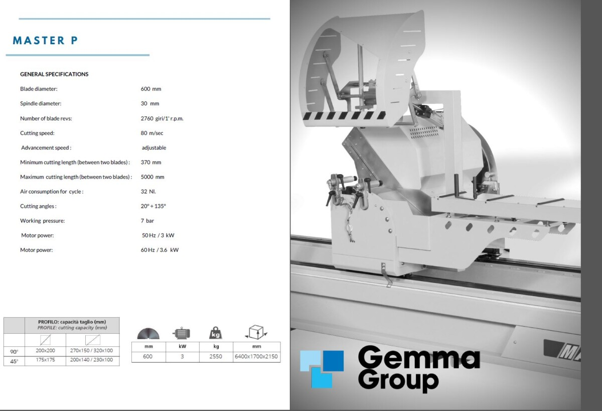 GEMMA - Master P - Double Head Cutting Machine